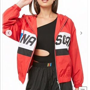 Forever 21 Jackets & Coats - Nascar Graphic Hooded Windbreaker